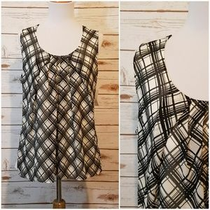 New York & Company Black and White Plaid Top